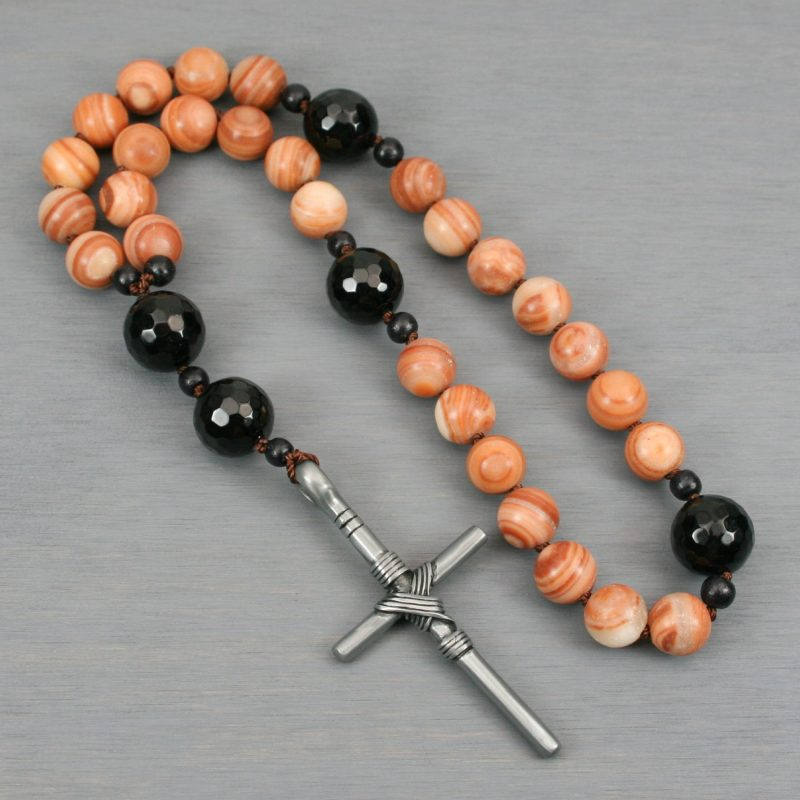 Anglican rosary in red malachite, black onyx, and an antiqued pewter cross