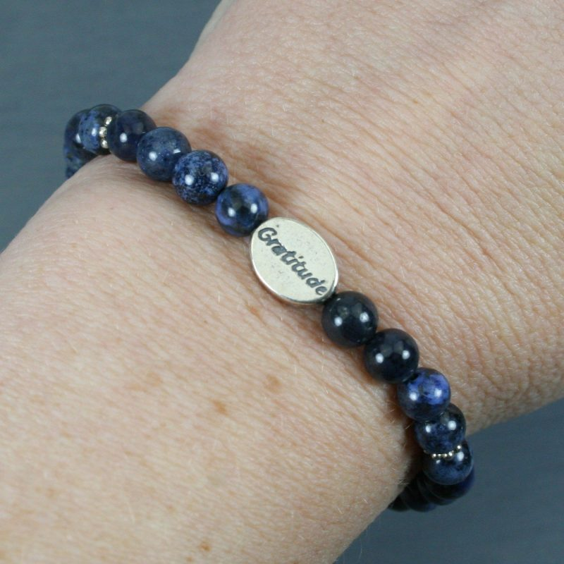 Dumortierite stretch bracelet with a sterling silver gratitude bead