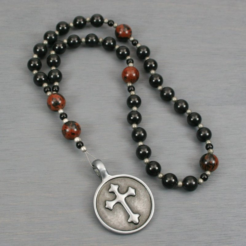 Anglican rosary in obsidian and mahogany obsidian with an antiqued pewter cross in a circle