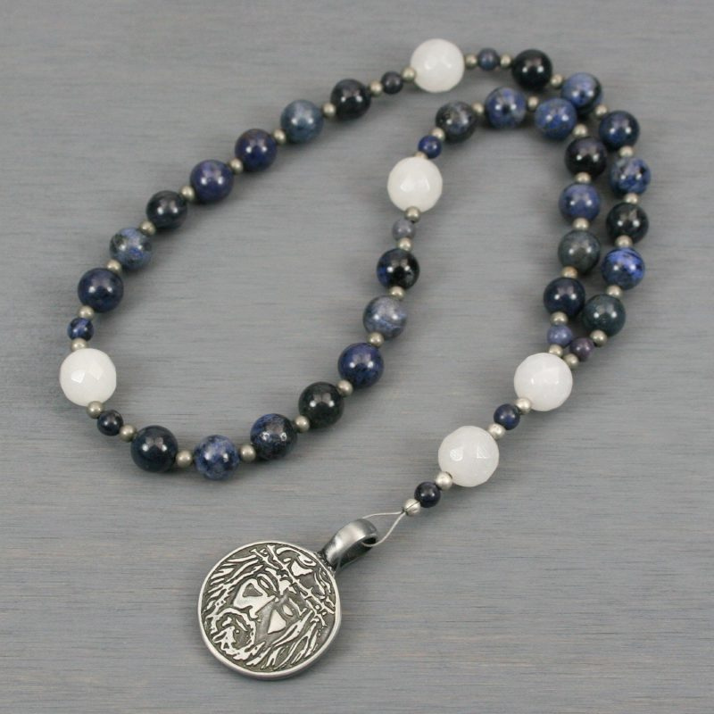 Anglican rosary in dumortierite and snow quartz with an antiqued pewter face of Jesus