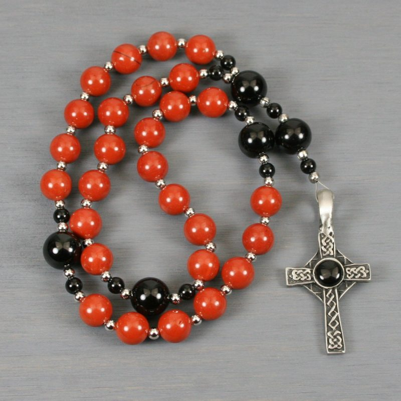 Anglican rosary in red jasper and black onyx with an antiqued pewter Celtic cross with a black resin inset