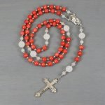 Bamboo coral and snow quartz rosary in the Roman Catholic style