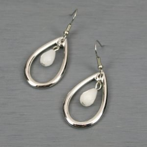 Rhodium plated open teardrop earrings with faceted snow quartz teardrops on stainless steel ear wires