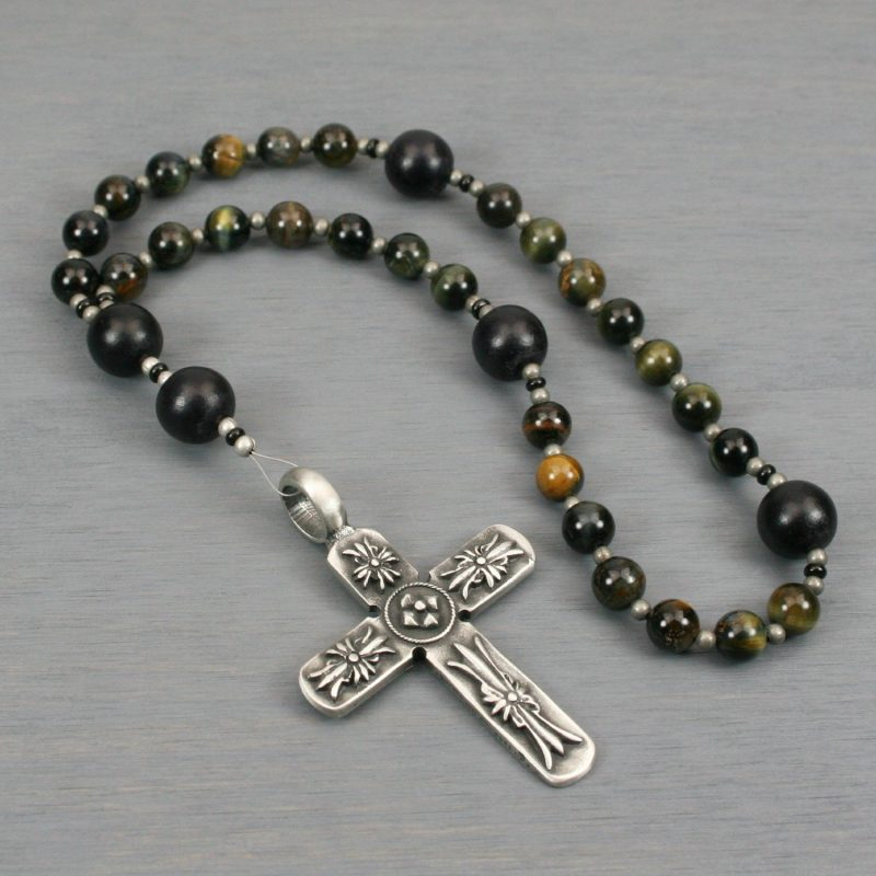 Anglican rosary in blue tiger eye and black wood with an antiqued pewter decorative cross