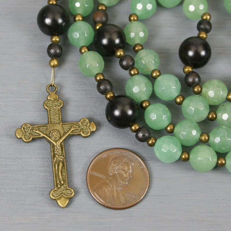 Green aventurine, ebony blackwood, and antiqued brass rosary in the Roman Catholic style