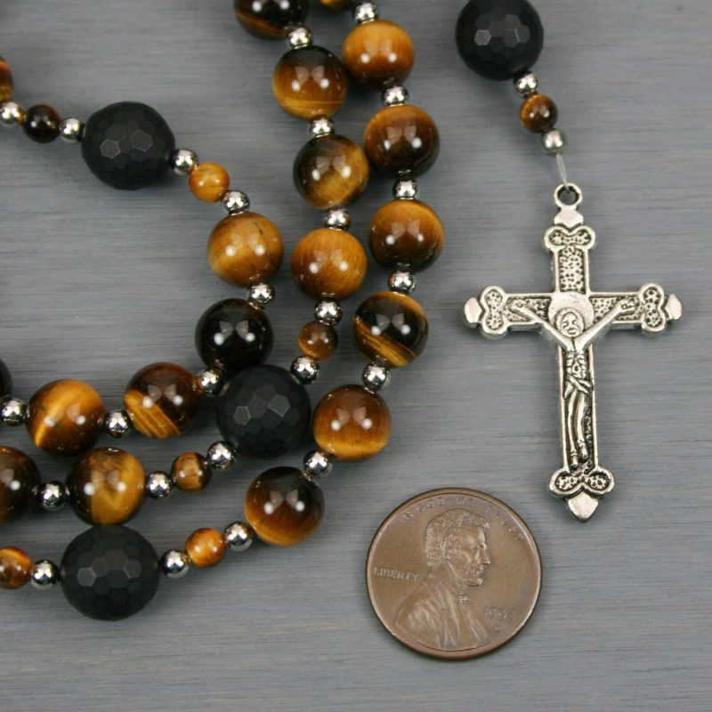 Tiger eye, black onyx, and silver rosary in the Roman Catholic style