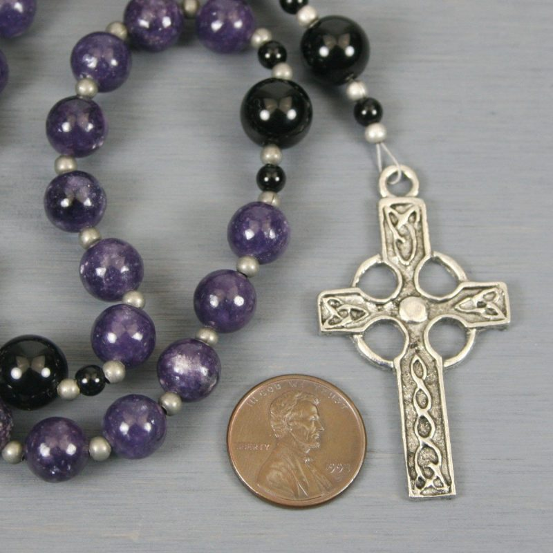 Anglican rosary in lepidolite and obsidian with an antiqued pewter Celtic cross
