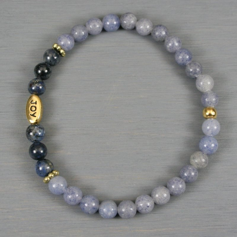 Blue aventurine and dumortierite stretch bracelet with a gold plated JOY bead