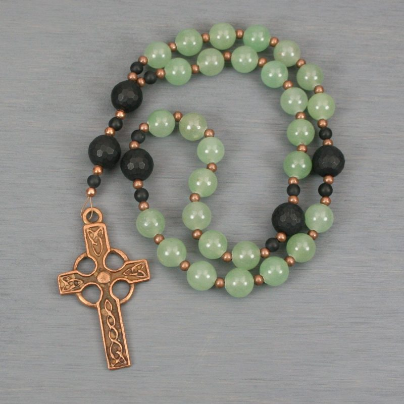 Anglican rosary in green aventurine and matte black onyx with an antiqued copper Celtic cross