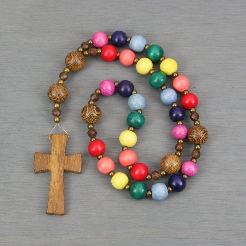 Anglican rosary with wood beads and cross in rainbow colors