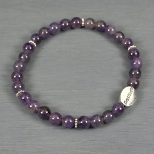 Amethyst gratitude bead bracelet with sterling silver gratitude bead