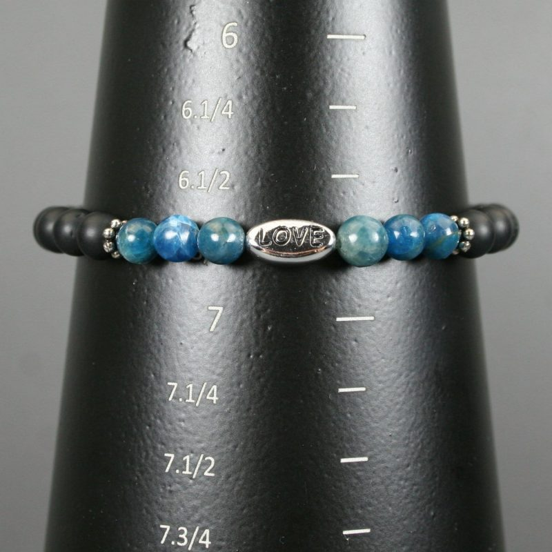 Apatite and matte black onyx stacking stretch bracelet with an antiqued rhodium plated pewter LOVE bead