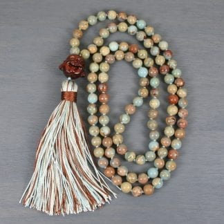 Impression jasper hand knotted mala with a sandalwood happy Buddha guru beads and a multi-color silk tassel