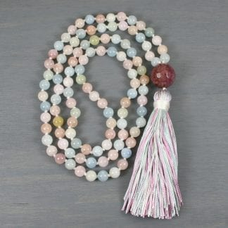 Beryl, morganite, aquamarine, and cracked agate hand knotted mala with a multi-color silk tassel