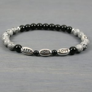 Faith, hope and love stretch bracelet with obsidian and silver crazy lace agate