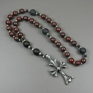 Anglican rosary in brecciated jasper and black onyx with an antiqued pewter cross