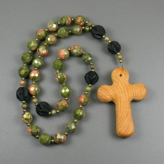 Anglican rosary in unakite, carved ebony wood beads, antiqued brass spacers, and a wood cross