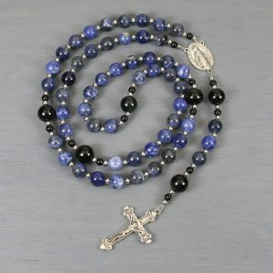 Sodalite, obsidian and silver rosary in the Roman Catholic style
