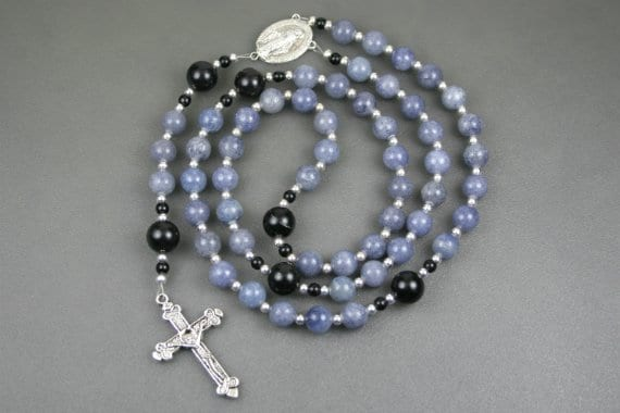 Blue aventurine, obsidian and silver rosary in the Roman Catholic style