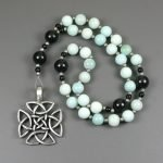 Anglican rosary in amazonite and obsidian with an antiqued pewter square-shaped Celtic cross