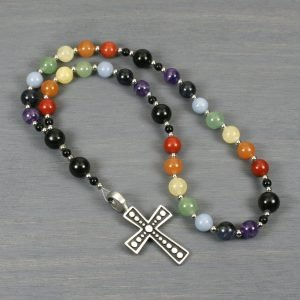 Anglican rosary in a rainbow set of stones with obsidian and an antiqued pewter cross
