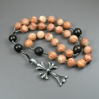 Anglican rosary in red malachite, buri root, gunmetal spacers, and an antiqued pewter cross