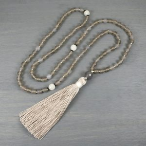 Gray agate and snow quartz hand knotted mala in the Tibetan style with a handmade silk tassel