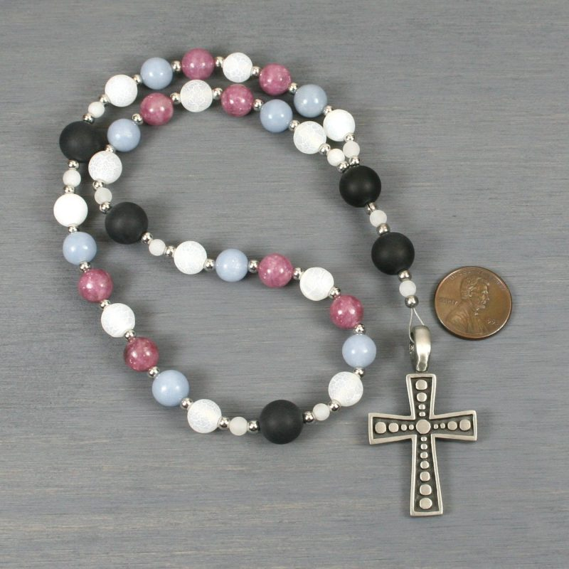 Anglican rosary in angelite, lepidolite and frosted white crackle agate in a trans flag pattern with an antiqued pewter cross