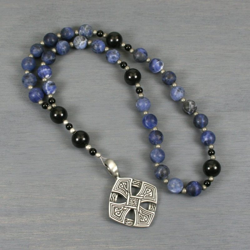 Anglican rosary in matte sodalite and obsidian with an antiqued pewter diamond-shaped Celtic cross