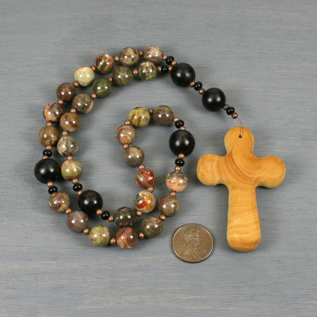 Anglican rosary in sierra agate, buri root, antiqued copper, and a wood cross