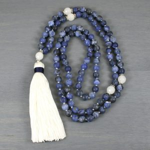 Matte sodalite and snow quartz hand knotted mala in the Zen style with a handmade silk tassel