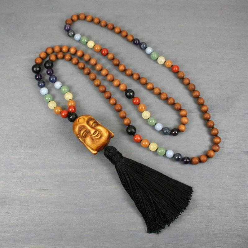 Rainbow and sandalwood Zen mala with a wood Buddha guru bead and black silk tassel