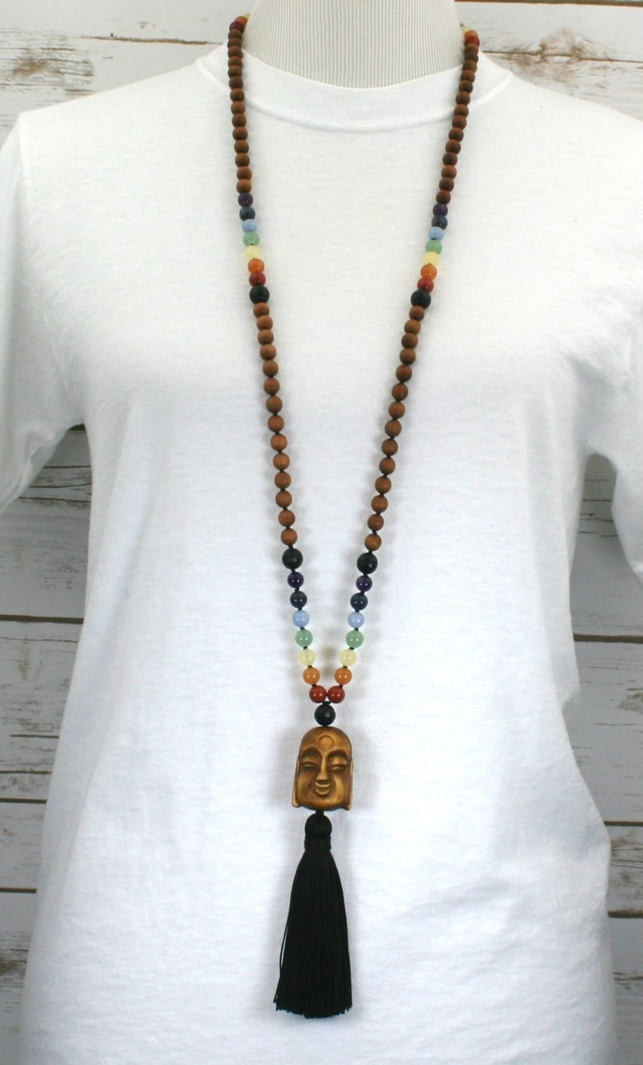 Rainbow and sandalwood Zen mala with a wood Buddha guru bead and black silk tassel