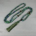 Azurite and black onyx hand knotted mala in the Zen style with tassel
