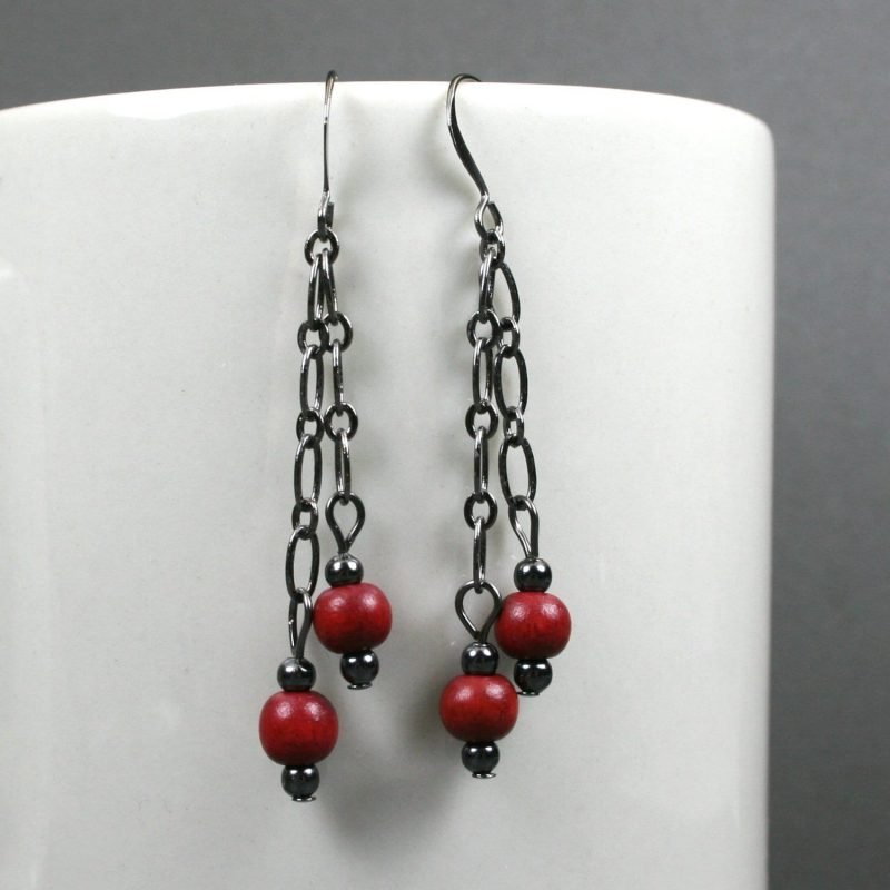 Dark red wood and gunmetal dangle earrings