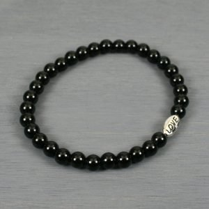 Obsidian stacking stretch bracelet with antiqued rhodium plated pewter LOVE bead