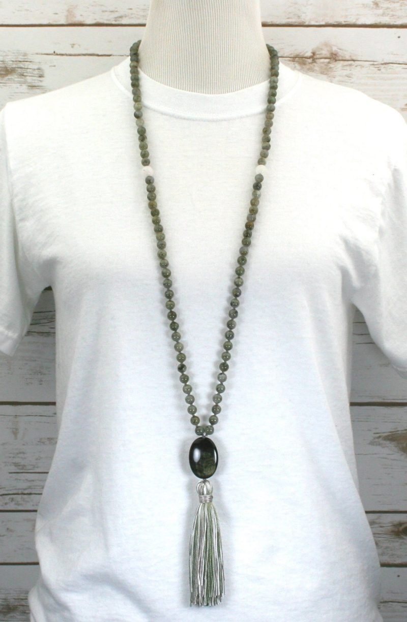 Labradorite, snow quartz, and rainbow sheen obsidian hand knotted mala in the Tibetan style with a silk tassel