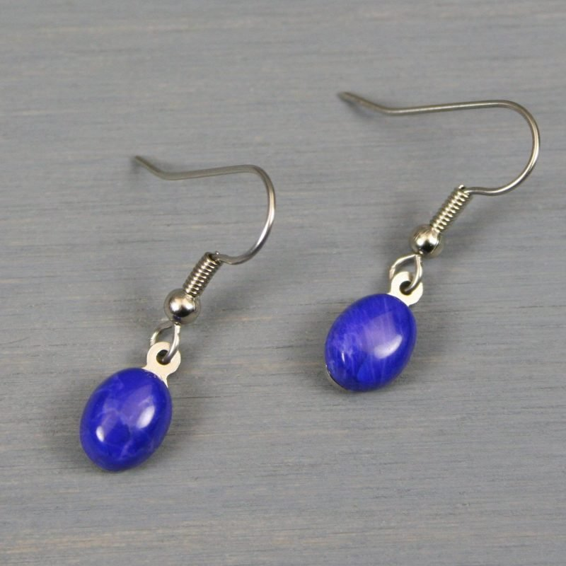 Petite lapis howlite earrings on stainless steel ear wires