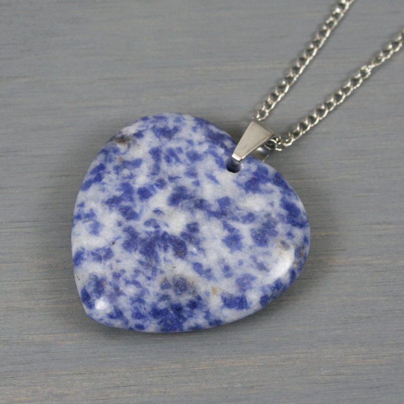 Blue spotted stone heart pendant on stainless steel curb chain