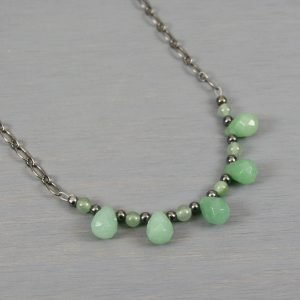 Green aventurine briolette necklace with gunmetal accents on gunmetal plated chain