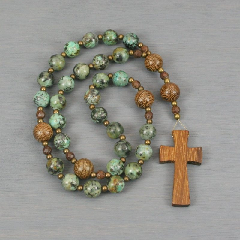Anglican rosary in African turquoise jasper and senna siameawood beads with a robles wood cross