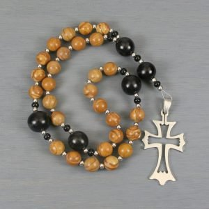Anglican rosary in tiger jasper and buri root with an open stainless steel cross