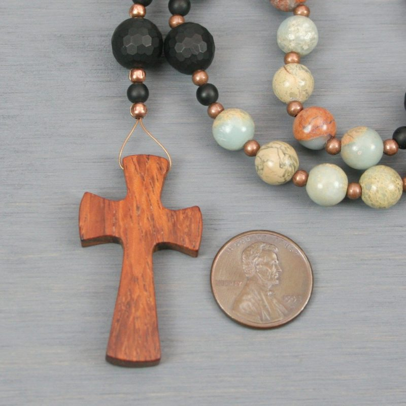 Anglican rosary in impression jasper and black onyx with a bayong wood cross
