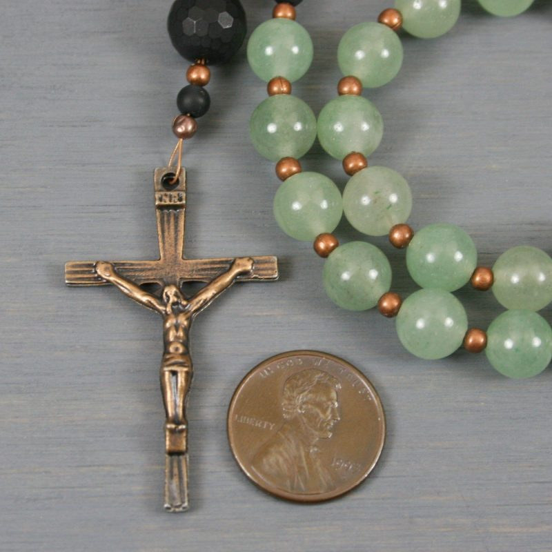 Green aventurine, black onyx, and antiqued copper rosary in the Roman Catholic style