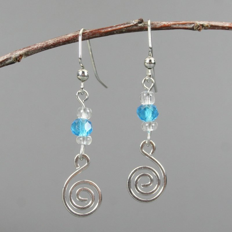 Turquoise glass accented silver plated spiral earrings