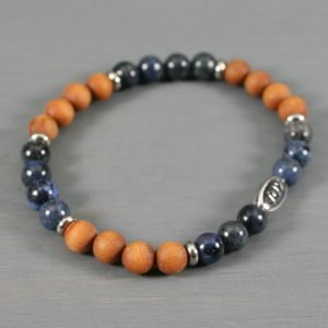 Dumortierite and sandalwood stretch bracelet with an antiqued rhodium plated pewter JOY bead