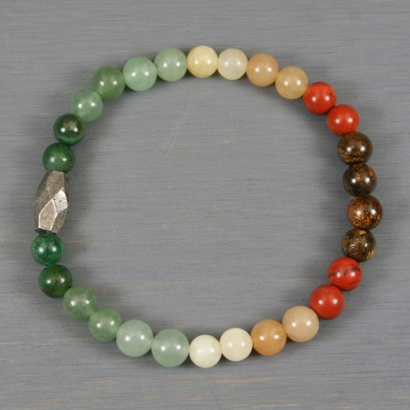 Ombre autumn color stone stretch bracelet with antiqued silver focal bead