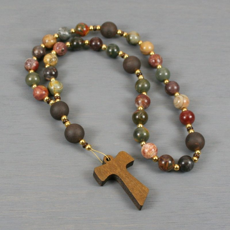 Anglican rosary in red creek jasper and ebony blackwood with a wooden Tau cross