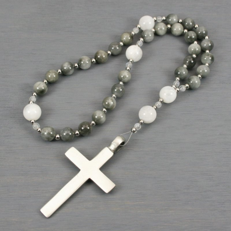Anglican rosary in gray chrysoberyl and moonstone with a pewter cross