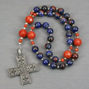 Anglican rosary in orange-blue jade and red jasper with an antiqued pewter cross with Celtic design